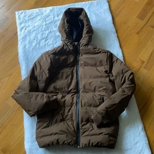 H&M brown water repellent and wind proof hooded jacket.